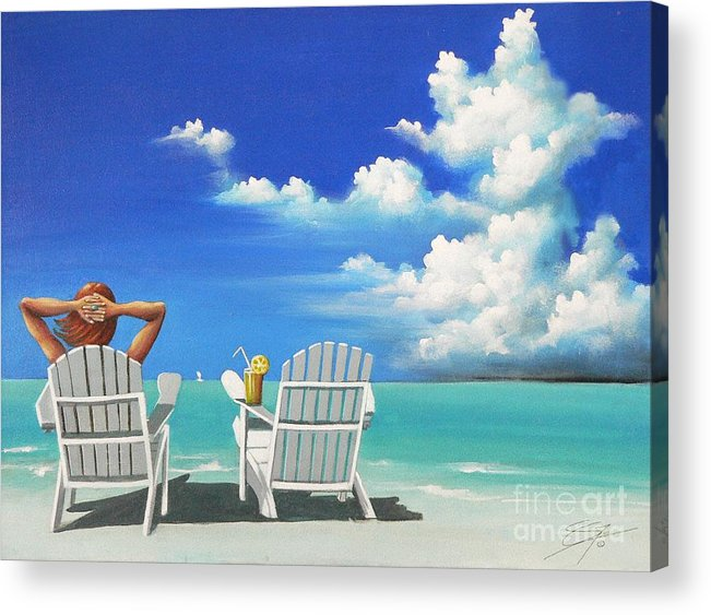 Beach Acrylic Print featuring the painting Watching Clouds by Artist ForYou