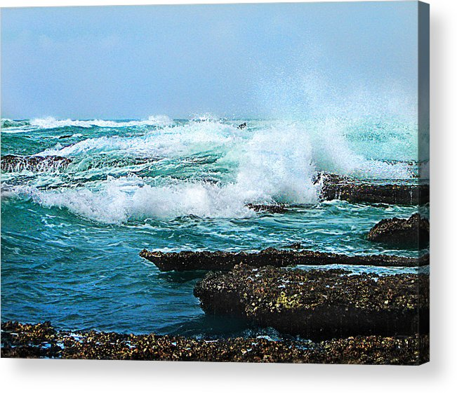 Sea Acrylic Print featuring the photograph Waves Hitting Shore by Ronel Broderick