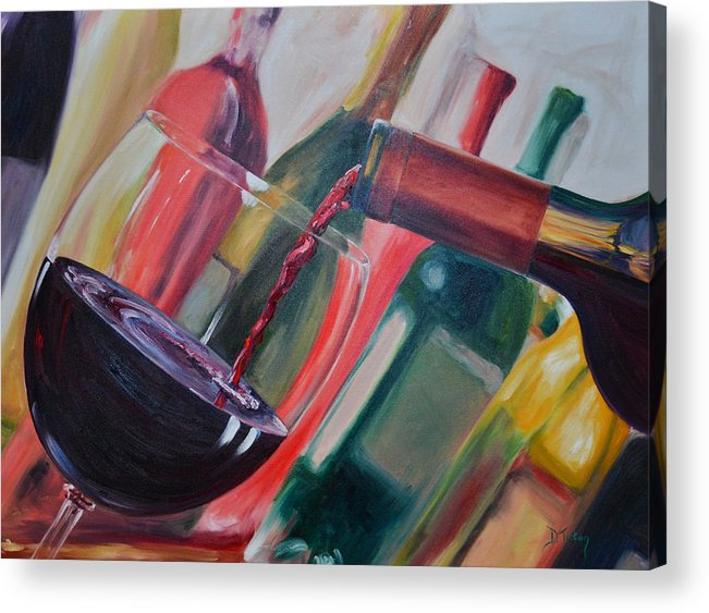 Wine Acrylic Print featuring the painting Wine Pour IIi by Donna Tuten
