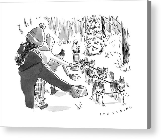 Captionless Marathon Acrylic Print featuring the drawing Winter Suited Volunteers Hold Out Dog Dishes by Trevor Spaulding