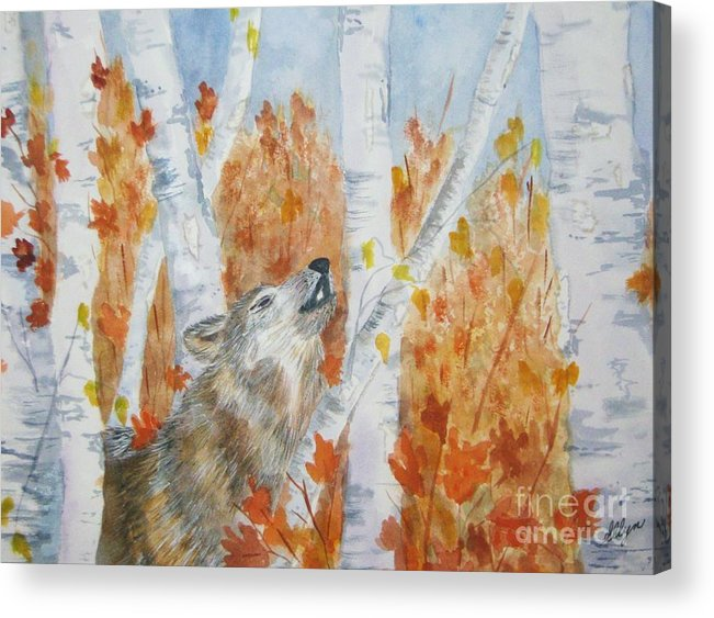 Wolf Acrylic Print featuring the painting Wolf Call by Ellen Levinson