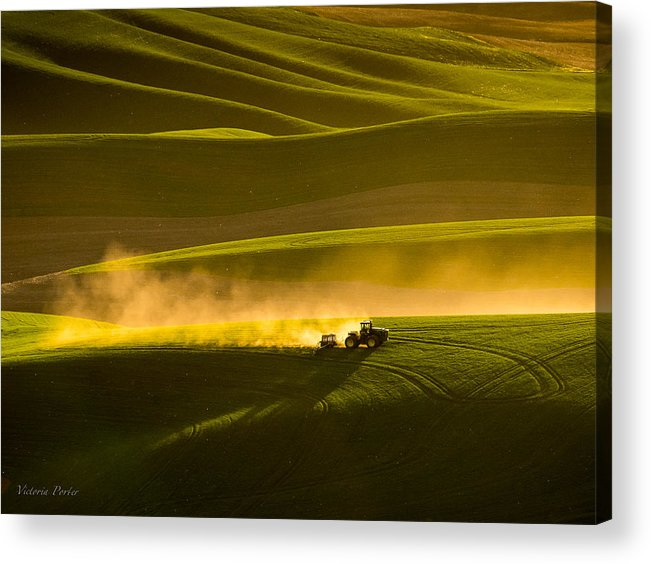 2014 Acrylic Print featuring the photograph Working The Fields In The Palouse by Victoria Porter