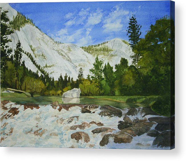 Landscape Acrylic Print featuring the painting Yosemite Park by Monika Degan