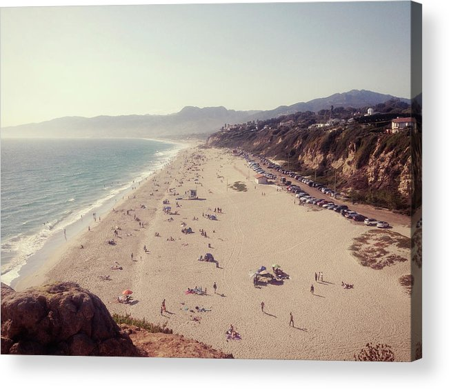 Water's Edge Acrylic Print featuring the photograph Zuma Beach At Sunset Malibu, Ca by William Andrew