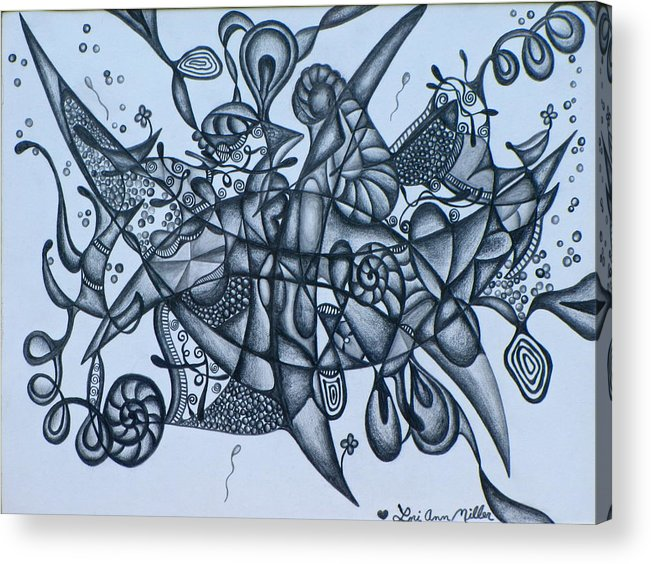 Crescent Moons Acrylic Print featuring the drawing Crescent Moons by Lori Miller