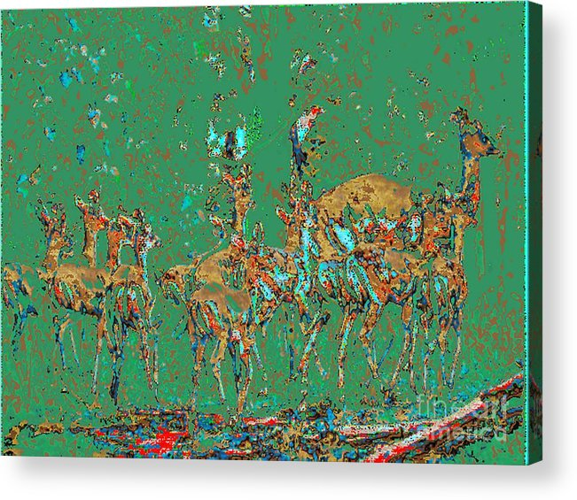 Impala Acrylic Print featuring the photograph Impalas In The Green Bush by Mareko Marciniak