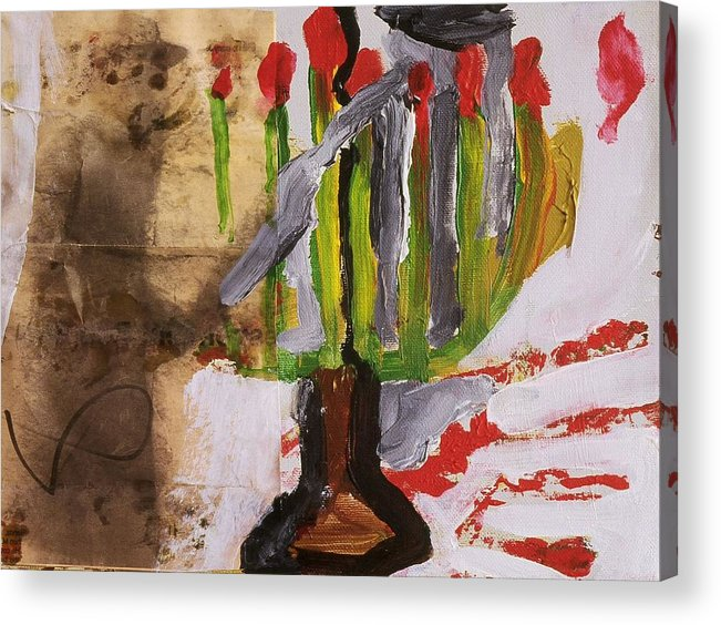 Fine Art Acrylic Print featuring the painting Menorah by Iris Gill