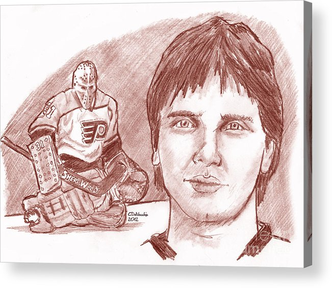 Flyers Acrylic Print featuring the drawing Pelle Lindbergh by Chris DelVecchio