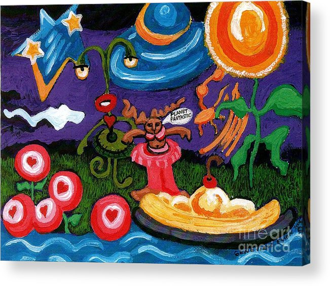 Planet Fantastic Acrylic Print featuring the painting Planet Fantastic by Genevieve Esson