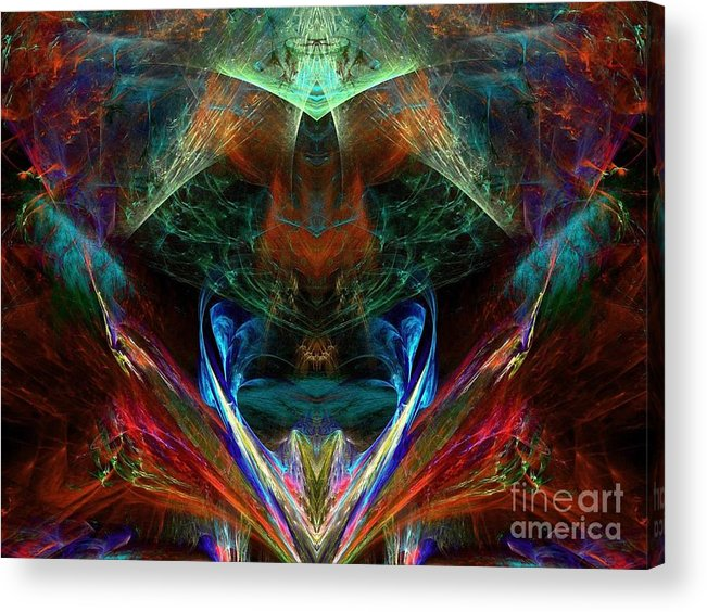 Abstract Acrylic Print featuring the digital art Red Indian by Klara Acel