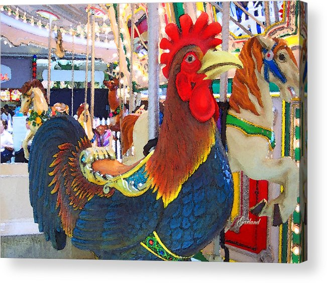 Rooster Acrylic Print featuring the digital art Rooster With An Attitude by Garland Johnson