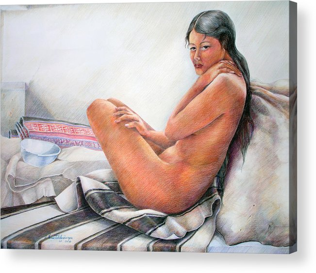 Copper Acrylic Print featuring the drawing Sumax Sipas by Sonia Tudela