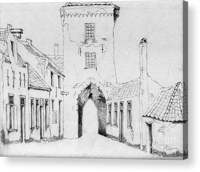 Old City Acrylic Print featuring the drawing The City Gate by Annemeet Hasidi- van der Leij