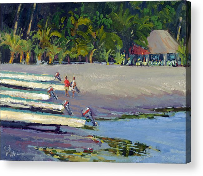 Boats Acrylic Print featuring the painting Time For Cervezas by Scott Palmer