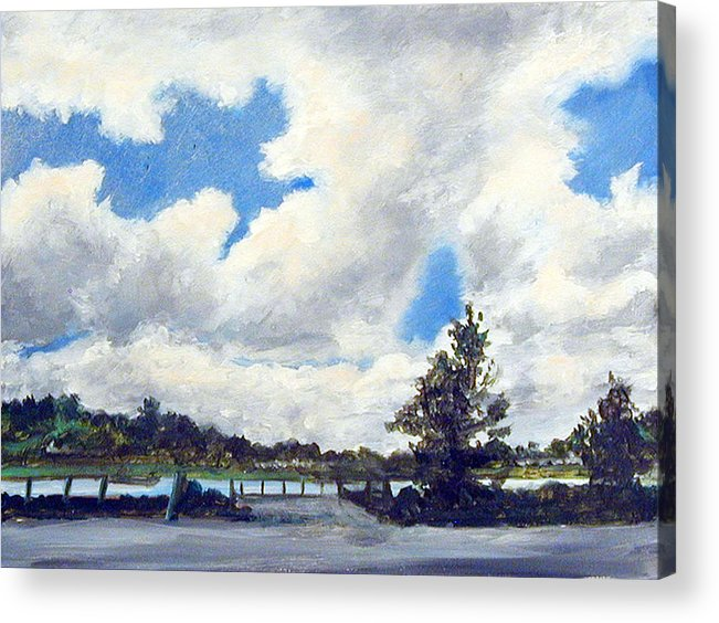 Clouds Acrylic Print featuring the painting Two Pines by Robert Harvey