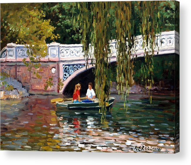 Acrylic Print featuring the painting Under The Bow Bridge Central Park by Roelof Rossouw