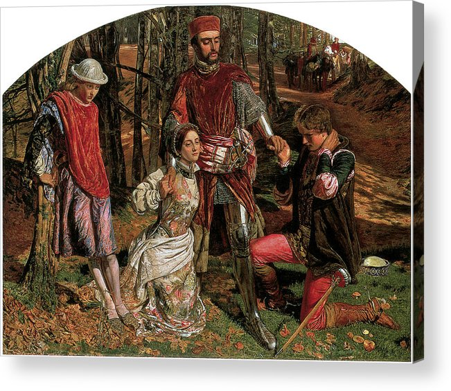 William Holman Hunt Acrylic Print featuring the painting Valentine Rescuing Slyvia Fro Proteus by William Holman Hunt