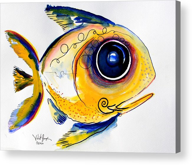 Fish Acrylic Print featuring the painting Yellow Study Fish by J Vincent Scarpace