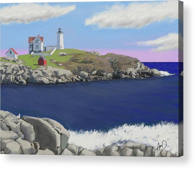 Seascape Acrylic Print featuring the painting York Light by Douglas Auld