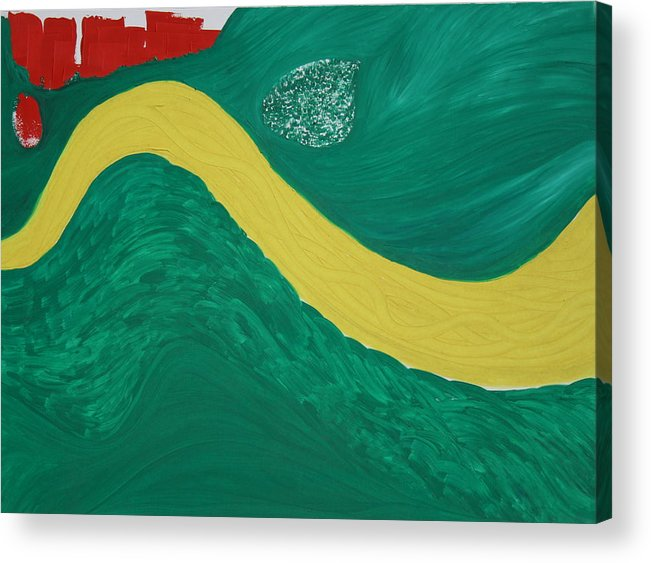 Acrylic Print featuring the painting Bend In The River by Prakash Bal Joshi