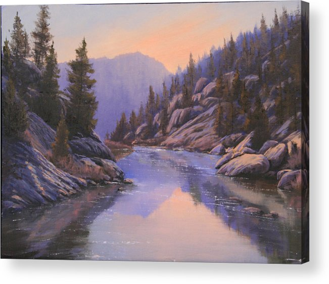 Landscape Acrylic Print featuring the painting 071123-1612 Remnants Of The Day In The Canyon by Kenneth Shanika