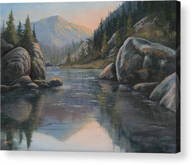 Landscape Acrylic Print featuring the painting 071215-1612 Fading Light by Kenneth Shanika