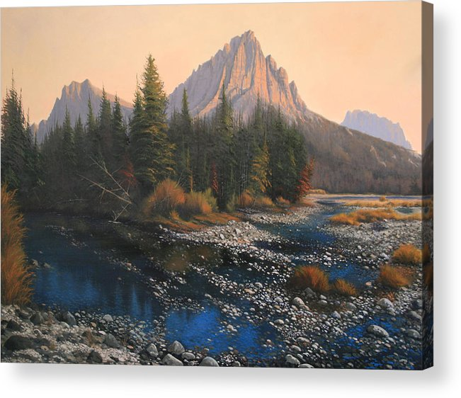 Autumn Acrylic Print featuring the painting 080414-4030 September Evening On Horse Thief Creek by Kenneth Shanika