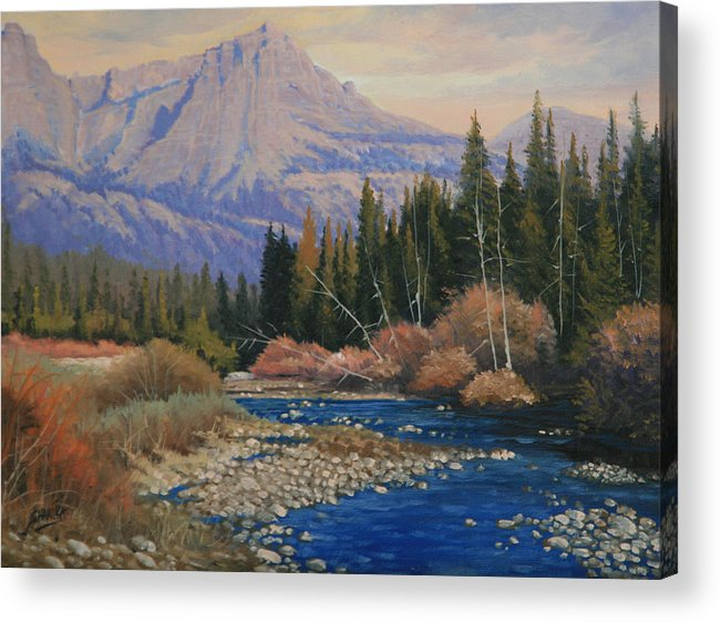 Landscape Acrylic Print featuring the painting 091019-912 Wandering Toward Sundown by Kenneth Shanika