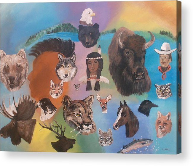 Animals Acrylic Print featuring the painting Many Faces by Aleta Parks