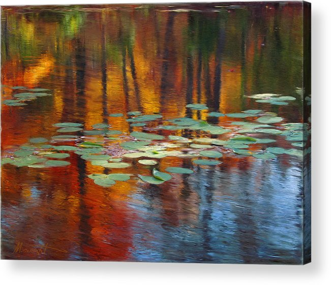 Digital Painting Acrylic Print featuring the painting Autumn Reflections I by Ron Morecraft