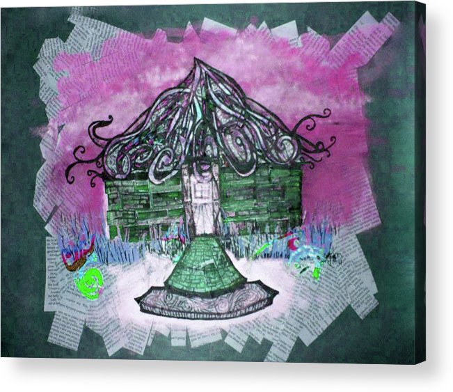 Mixed Media Acrylic Print featuring the mixed media Brick House by Emily Perry