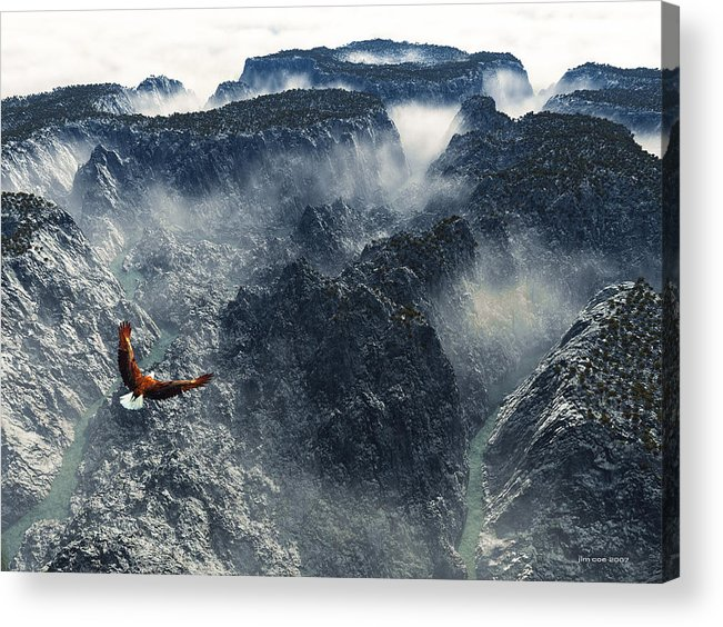 Jim Coe Acrylic Print featuring the digital art Cloud Canyon by Jim Coe