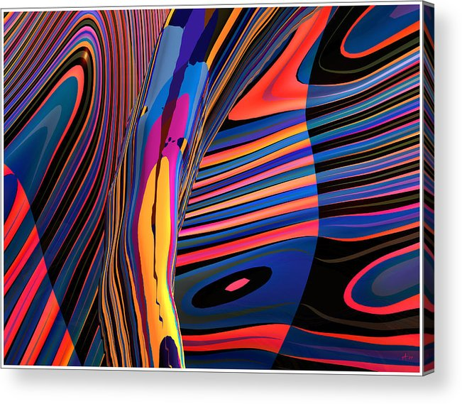 Abstract Art; Digital Fine Art; 3-d Rendering Acrylic Print featuring the digital art Kaleido-fa-callig. 10x11m37 Wide 11i by Terry Anderson