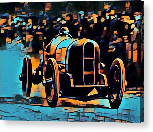 Acrylic Print featuring the digital art 1920's Racing Car by Jean-Louis Glineur alias DeVerviers