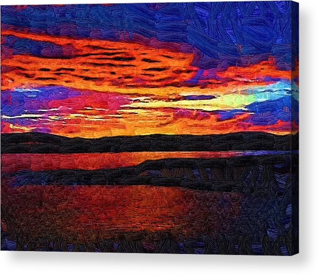 Oil Painting Acrylic Print featuring the painting Blaze In The Sky by Gina Roseanne