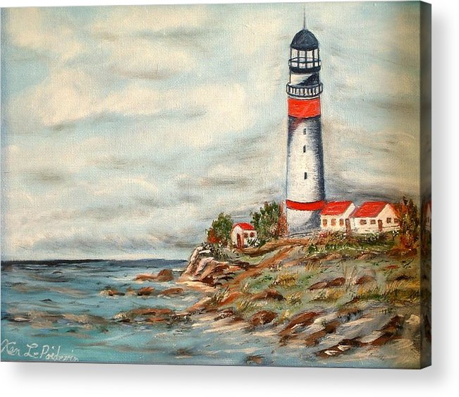 Lighthouse Ocean Houses Rocks Acrylic Print featuring the painting Lighthouse 2 by Kenneth LePoidevin