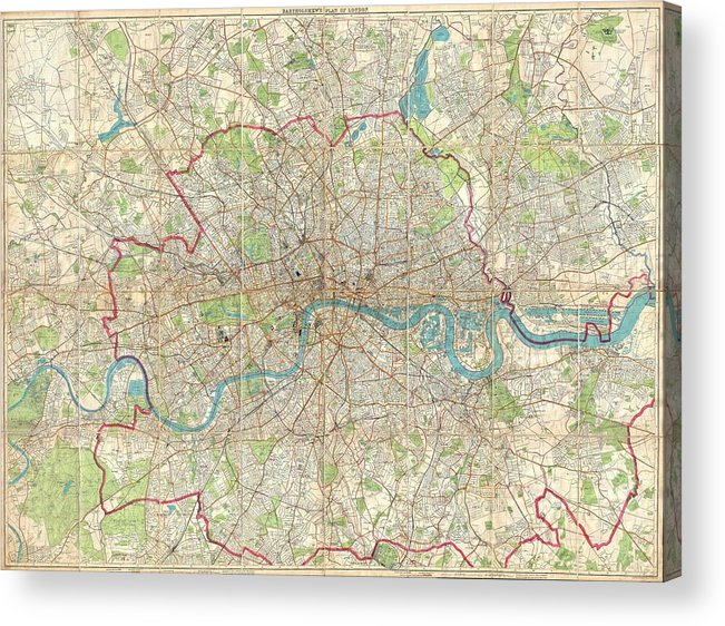 London Acrylic Print featuring the drawing Vintage Map Of London England by CartographyAssociates