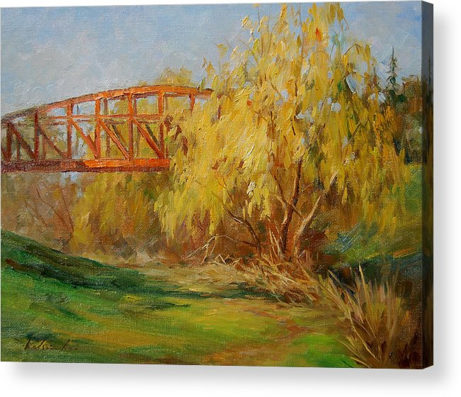 Landscape Acrylic Print featuring the painting A Secret Little Red Bridge by Kelvin Lei