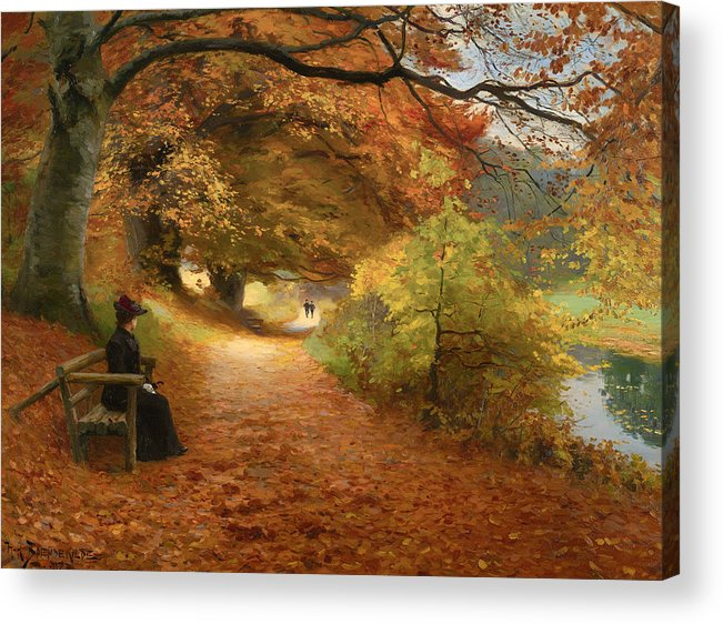 Painting Acrylic Print featuring the painting A Wooded Path In Autumn by Mountain Dreams