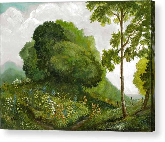 Landscape Painting Acrylic Print featuring the painting Abandoned Garden by Michael Scherer