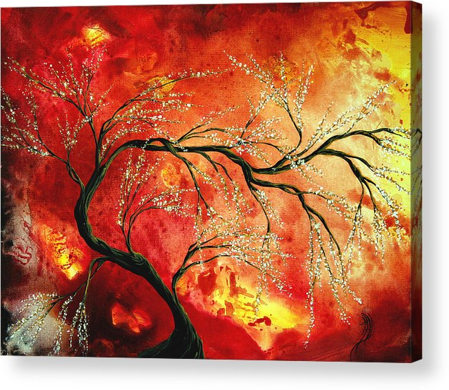 Abstract Acrylic Print featuring the painting Abstract Art Floral Tree Landscape Painting Fresh Blossoms By Madart by Megan Duncanson