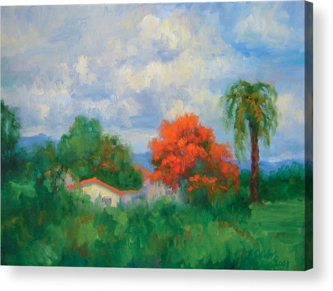 Honduras Acrylic Print featuring the painting Acacias And Red Roofs by Bunny Oliver