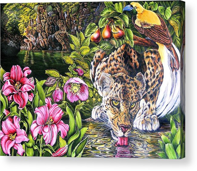Leoapord Acrylic Print featuring the painting Alidas Garden by Donald Dean