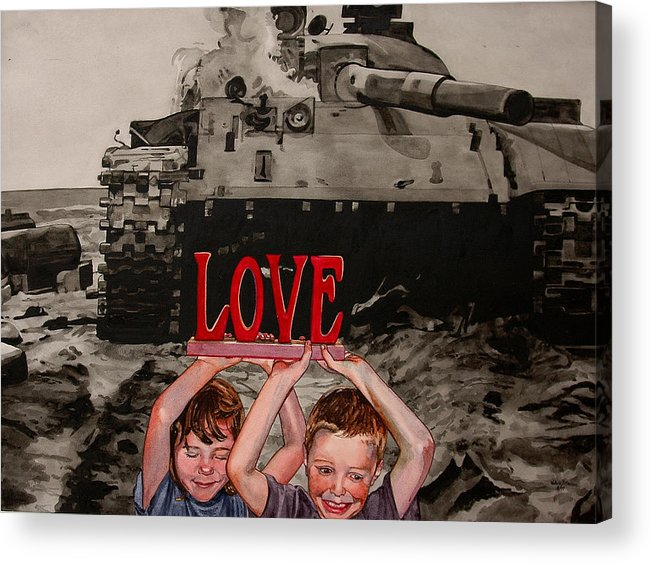 Political Acrylic Print featuring the painting All You Need Is... by Valerie Patterson