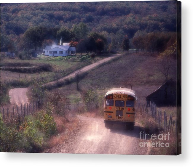 Rural School Bus Acrylic Print featuring the photograph Almost Home by Garry McMichael
