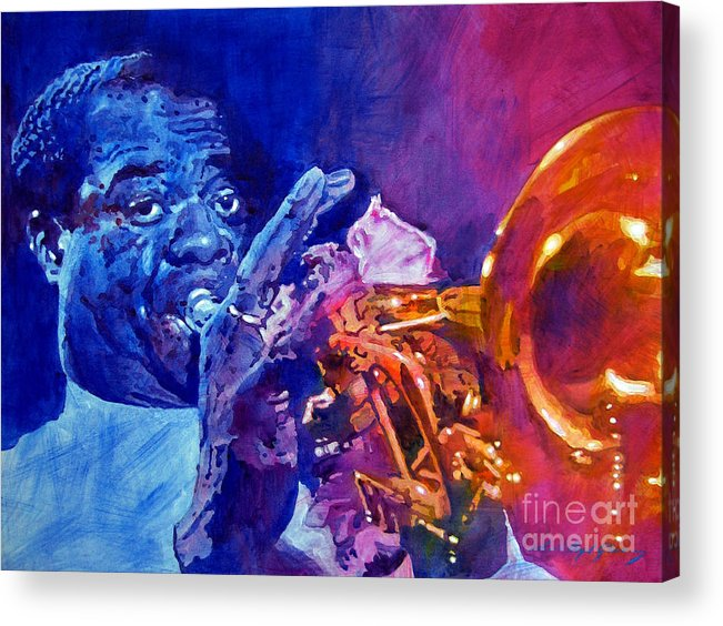 Jazz Acrylic Print featuring the painting Ambassador Of Jazz - Louis Armstrong by David Lloyd Glover