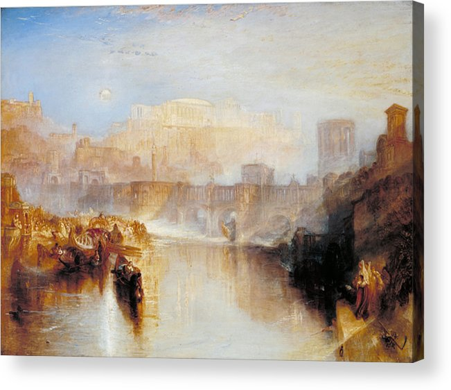 Architectural Acrylic Print featuring the painting Ancient Rome - Agrippina Landing With The Ashes Of Germanicus by JMW Turner