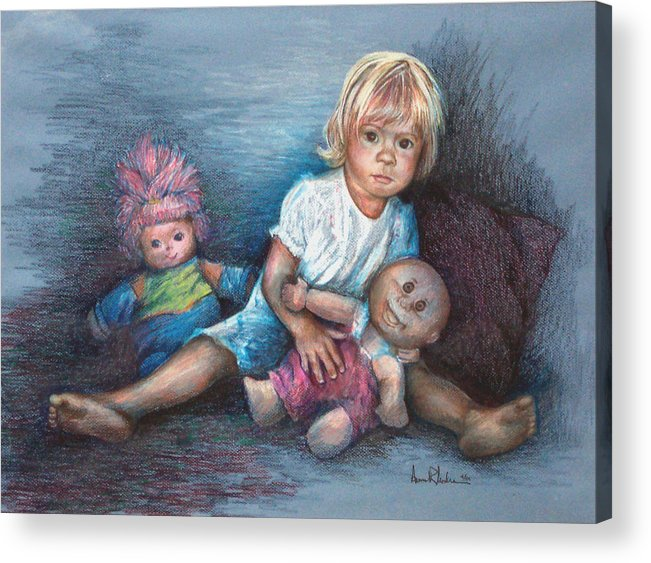 Small Child Acrylic Print featuring the painting Ashley And Friends by Anne Rhodes
