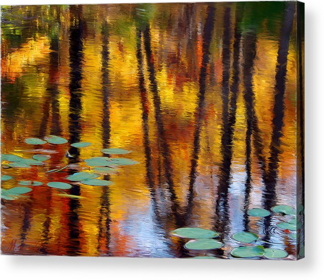 Painting Acrylic Print featuring the painting Autumn Reflections II by Ron Morecraft