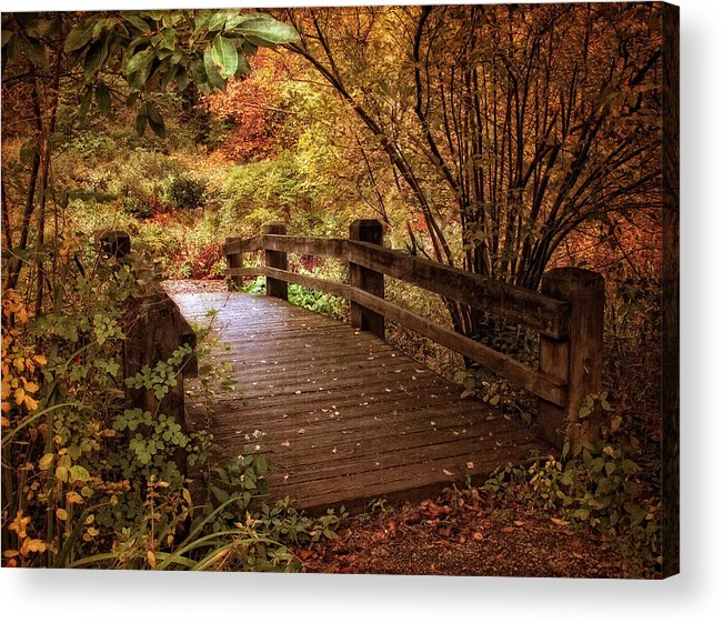 Bridge Acrylic Print featuring the photograph Autumn Splendor Bridge by Jessica Jenney